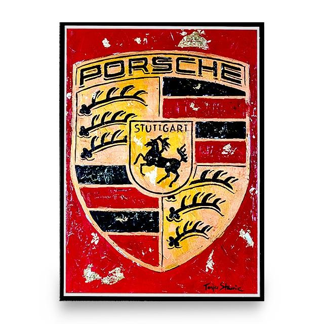 Tanja Stadnic Porsche crest acrylic art